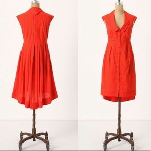 Anthropologie Postmark Red Four Corner Shirt Dress